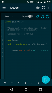 Dcoder Blue code editor code compiler for mobile