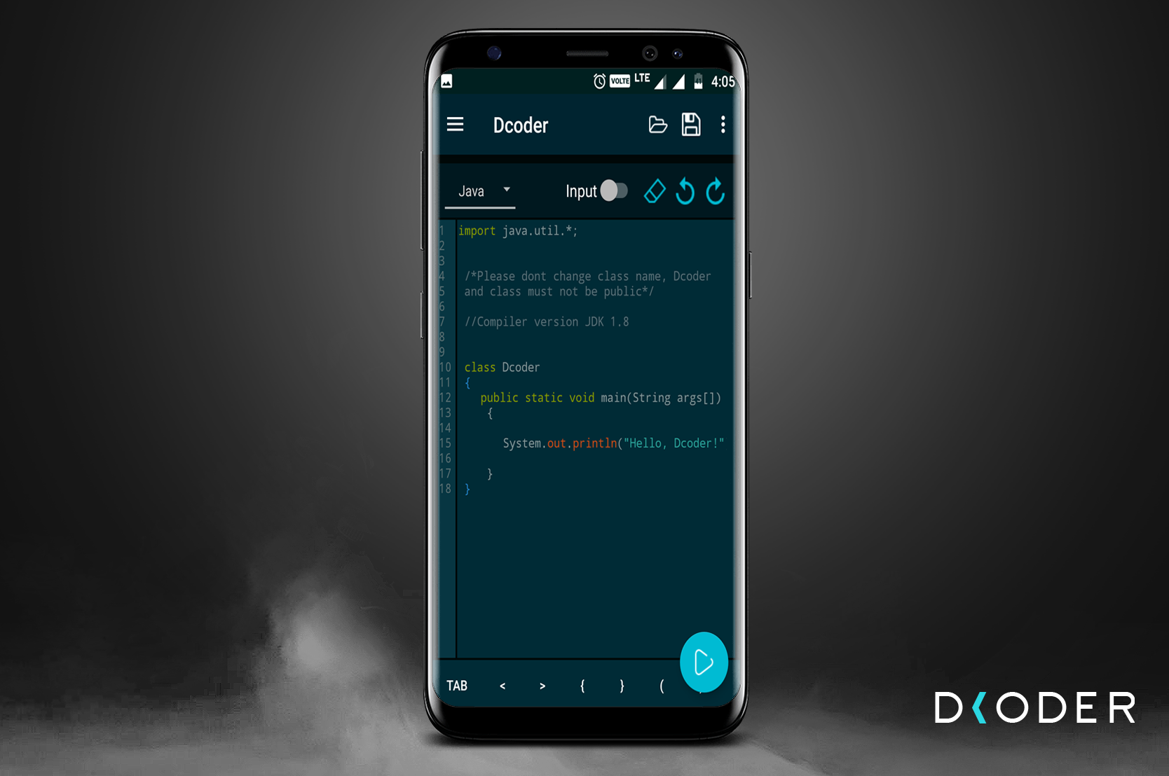 Dcoder code compiler ide for mobile on s8